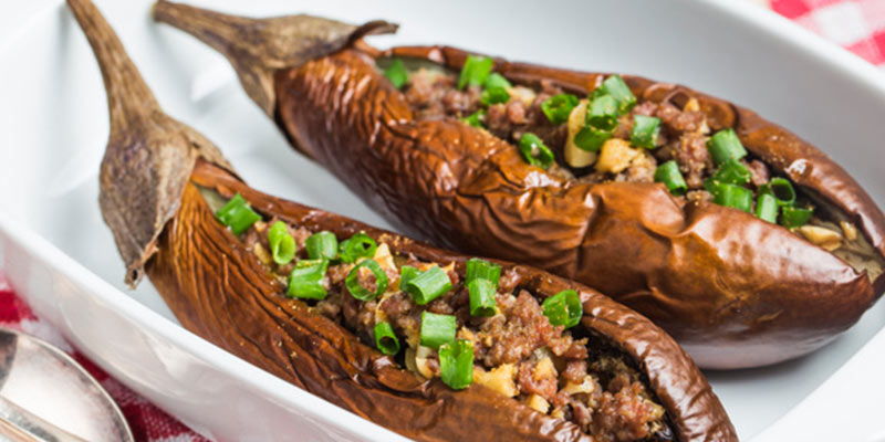 غذای ترکی با بادمجان کبابی